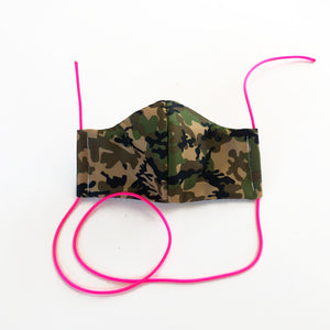 camo cloth face mask - pink lanyards