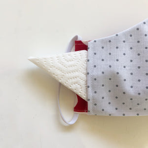 polkadot cloth face mask with filter insert pocket