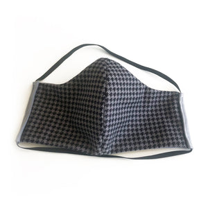 cloth face mask - risky business - gray and black - front