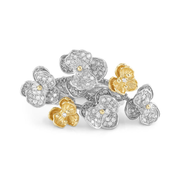 Orchid Cluster Ring with Diamonds