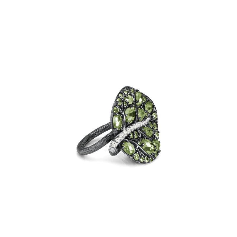 Botanical Leaf Ring with Peridot & Diamonds