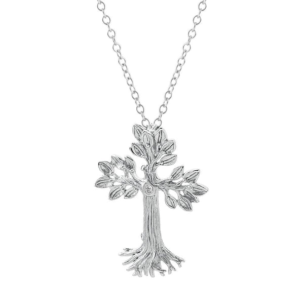 Michael Aram Armenian Tree of Life 33mm Cross Pendant Necklace with Diamonds