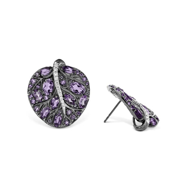 Michael Aram Botanical Leaf 25mm Earrings w/ Amethyst & Diamonds in Black Rhodium Sterling Silver & Sterling Silver