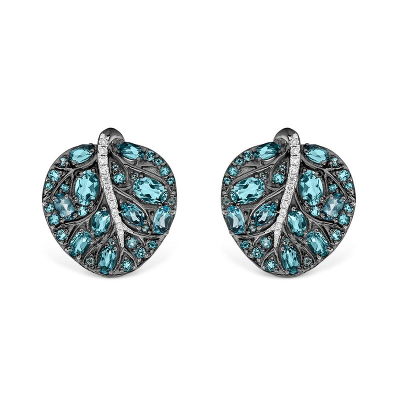 Michael Aram Botanical Leaf 25mm Earrings w/ Blue Topaz & Diamonds in Black Rhodium Sterling Silver & Sterling Silver
