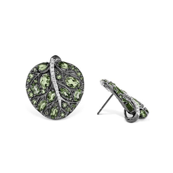 Michael Aram Botanical Leaf 25mm Earrings w/ Peridot & Diamonds in Black Rhodium Sterling Silver & Sterling Silver