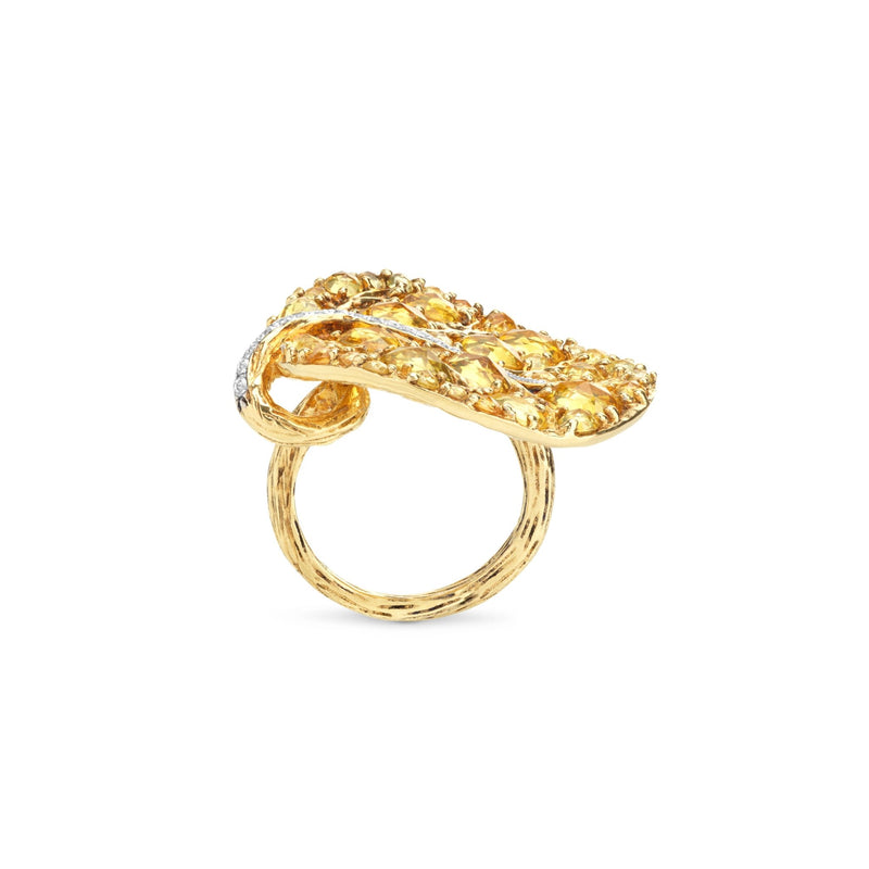 Michael Aram Botanical Leaf 31mm Ring w/ Yellow Sapphire & Diamonds In 18k Yellow Gold