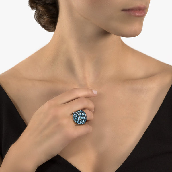 Michael Aram Botanical Leaf 31mm Ring with Blue Topaz and Diamonds