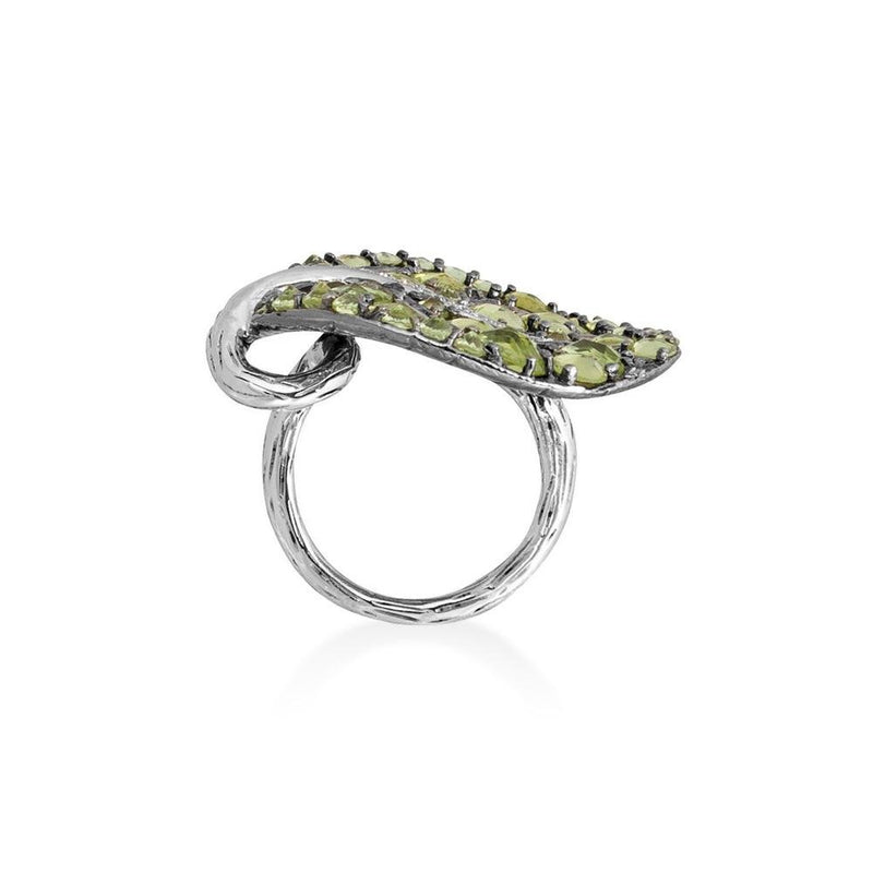 Michael Aram Botanical Leaf 31mm Ring with Peridot and Diamonds
