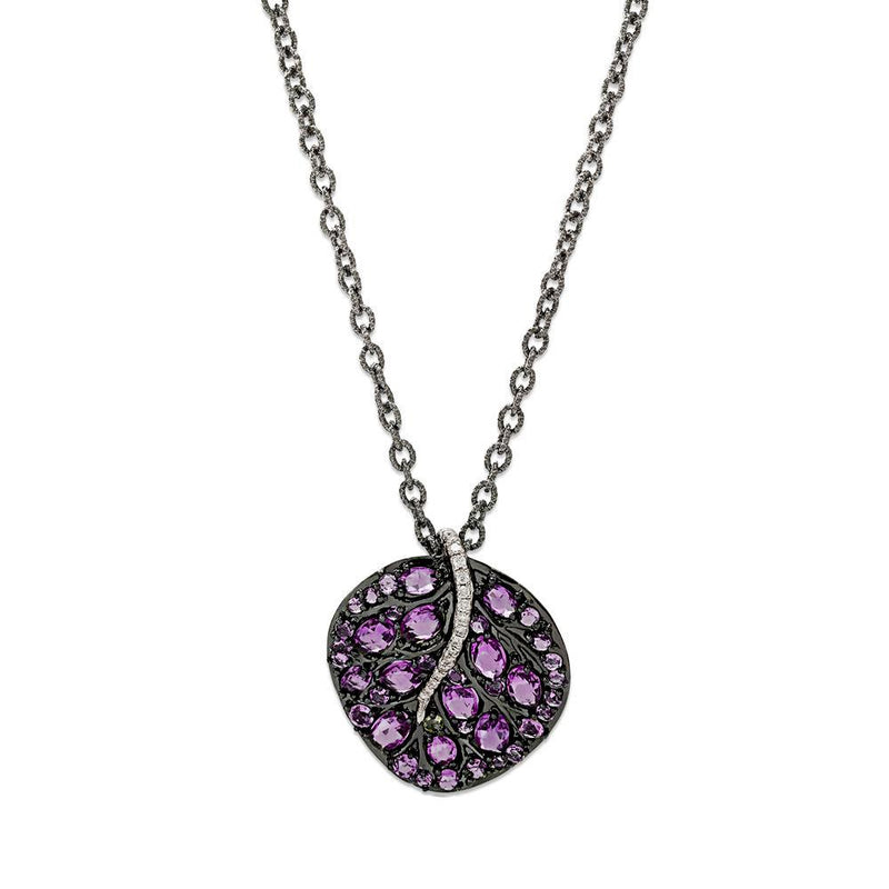 Michael Aram Botanical Leaf 32mm Necklace with Amethyst and Diamonds