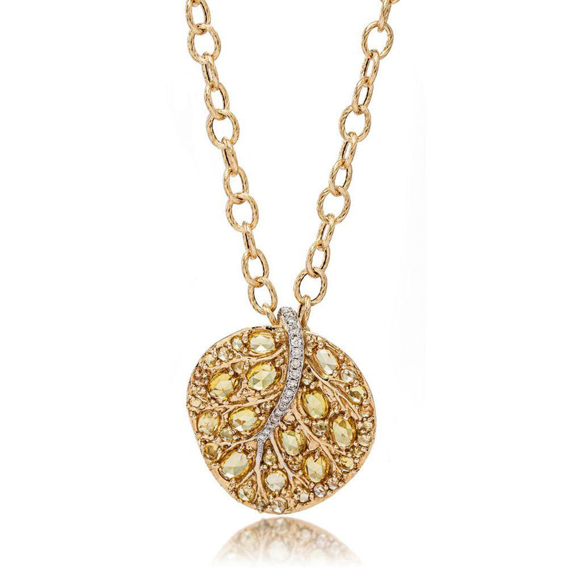 Michael Aram Botanical Leaf 32mm Pendant w/ Yellow Sapphire & Diamonds in 18K Yellow Gold
