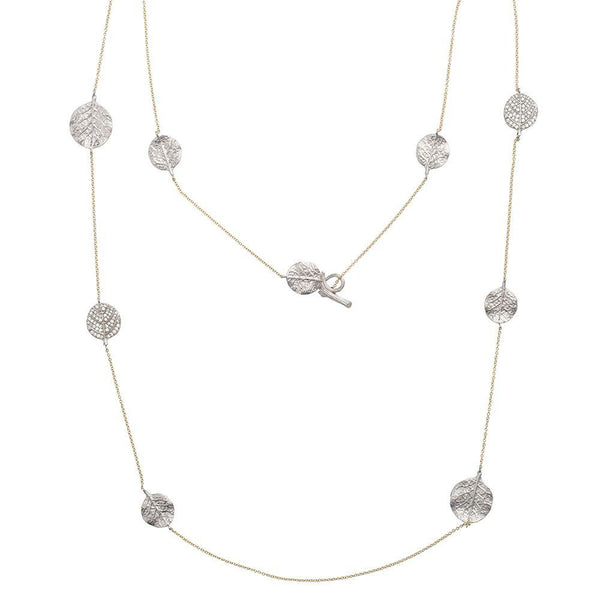 "Michael Aram Botanical Leaf 42"" Station Necklace with Diamonds"