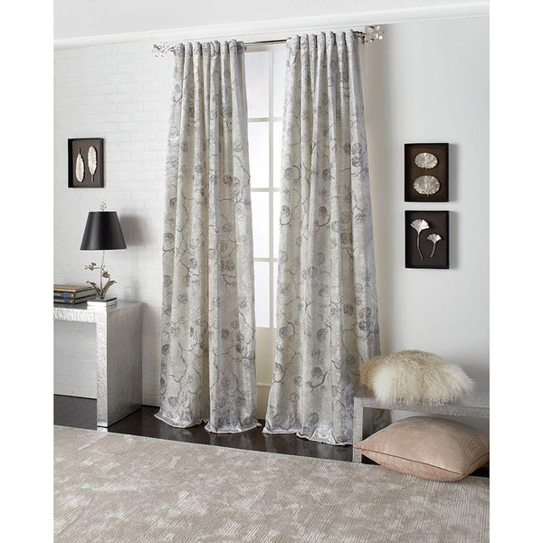 Michael Aram Botanical Leaf Back Tab Curtain - Silver