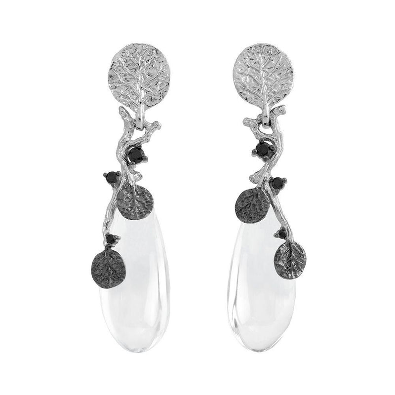 Michael Aram Botanical Leaf Drop Earrings w/ Crystal & Diamonds in Sterling Silver & Black Rhodium Sterling Silver