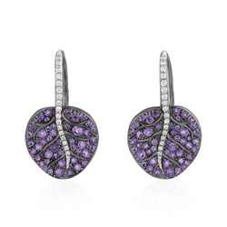 Michael Aram Botanical Leaf Earrings with Amethyst and Diamonds