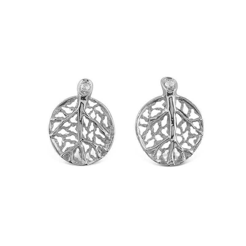 Michael Aram Botanical Leaf Earrings with Diamonds