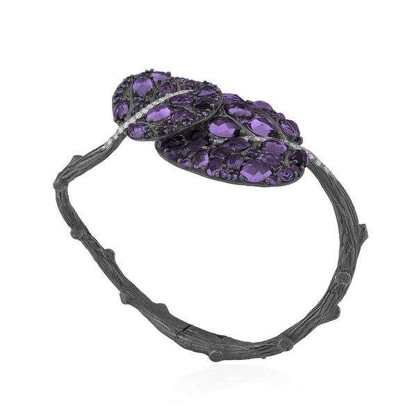 Michael Aram Botanical Leaf Gemstone Bracelet w/ Amethyst & Diamonds in Black Rhodium & Sterling Silver