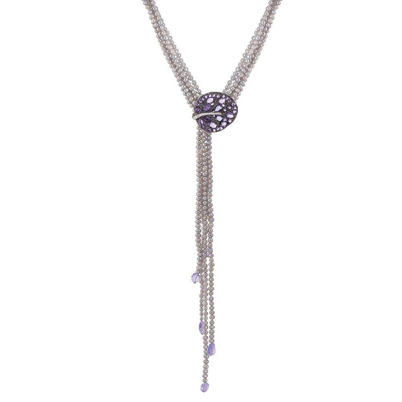 Michael Aram Botanical Leaf Multi Strand Lariat Necklace with Amethyst and Diamonds