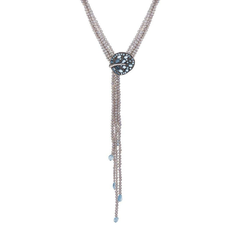 Michael Aram Botanical Leaf Multi Strand Lariat Necklace with Blue Topaz and Diamonds