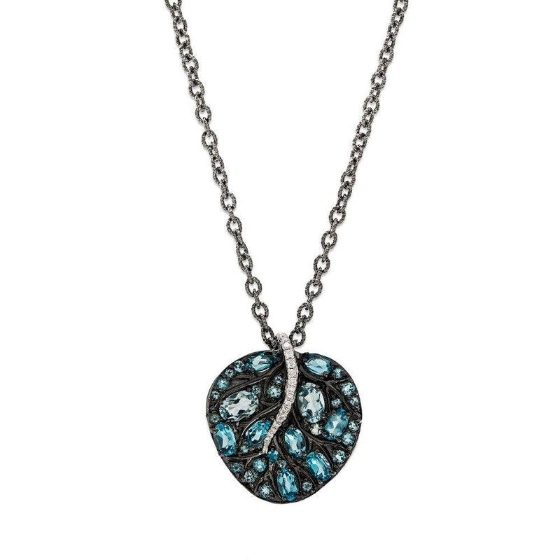 Michael Aram Botanical Leaf Small Pendant w/ Blue Topaz & Diamonds in Black Rhodium Sterling Silver