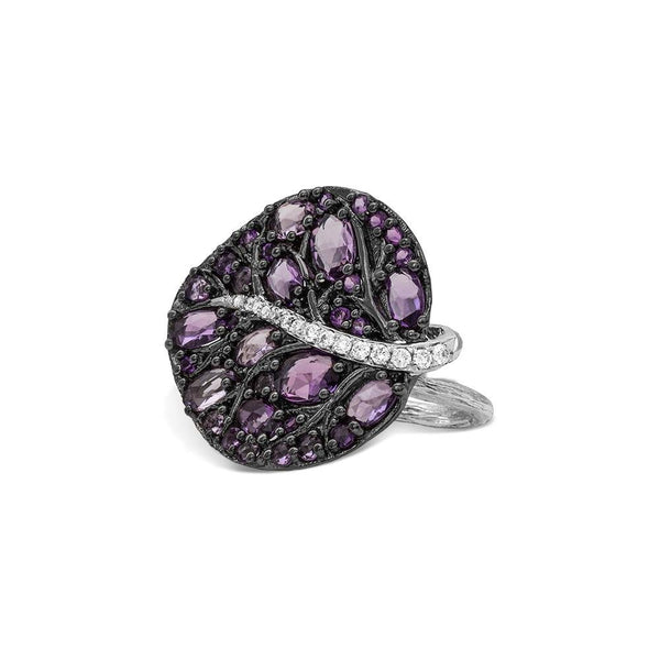 Michael Aram Botanical Leaf Small Ring w/ Amethyst & Diamonds In Black Rhodium Sterling Silver