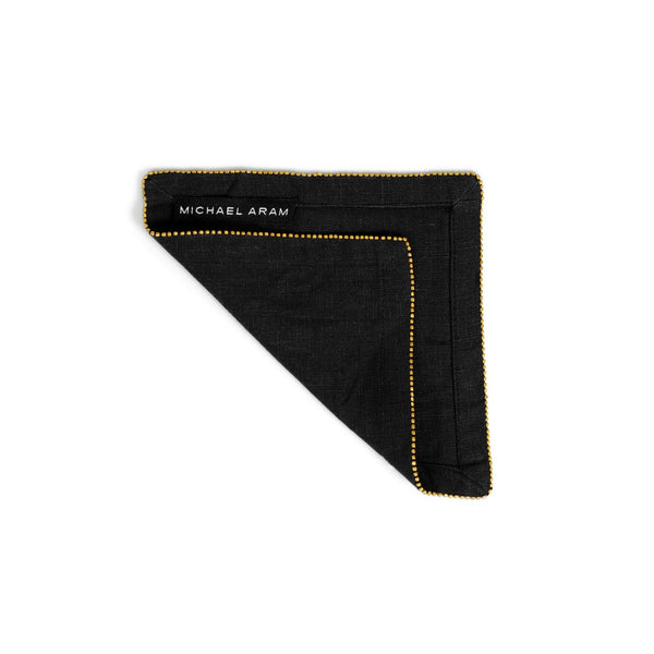 Michael Aram Brass Beaded Cocktail Napkin Charcoal