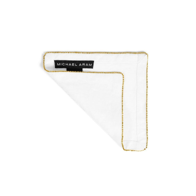 Michael Aram Brass Beaded Cocktail Napkin Eggshell