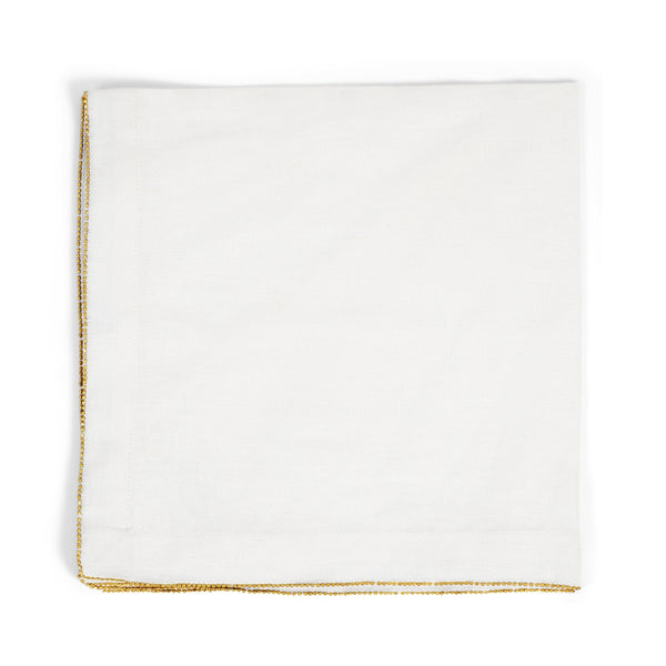 Michael Aram Brass Beaded Dinner Napkin Eggshell