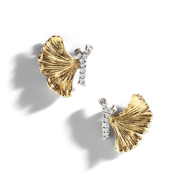 Michael Aram Butterfly Gingko 14mm Earrings with Diamonds