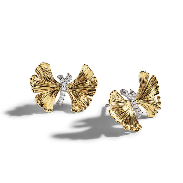 Michael Aram Butterfly Gingko 18mm Earrings with Diamonds