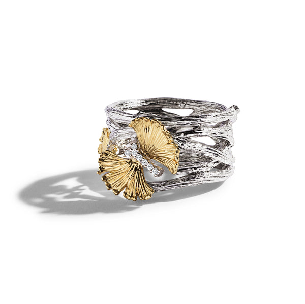 Michael Aram Butterfly Gingko Cuff Ring with Diamonds