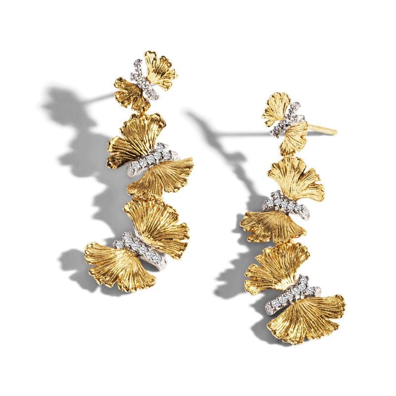 Michael Aram Butterfly Gingko Earrings with Diamonds