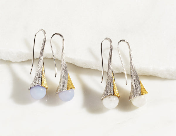 Michael Aram Butterfly Gingko Earrings with Moonstone and Diamonds
