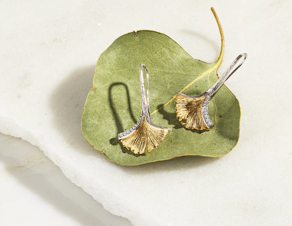 Michael Aram Butterfly Gingko Leaf Drop Earrings with Diamonds