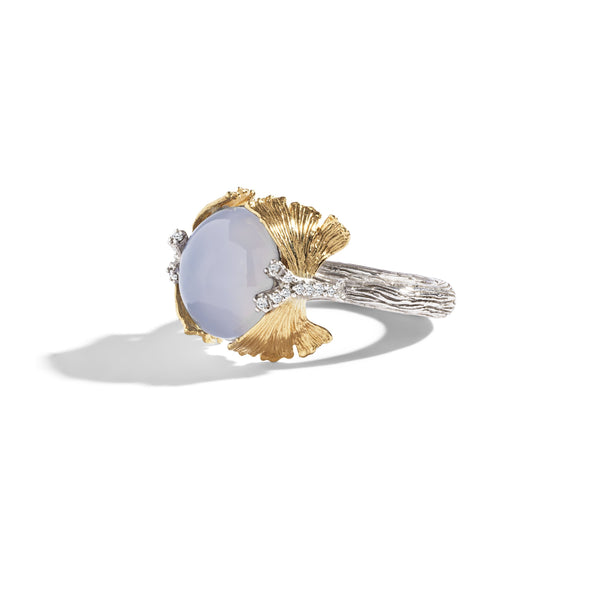 Michael Aram Butterfly Gingko Ring with Chalcedony and Diamonds