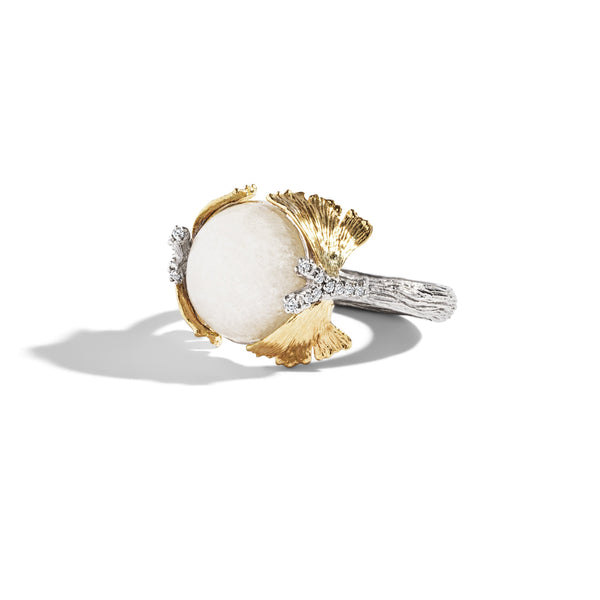 Michael Aram Butterfly Gingko Ring with Moonstone and Diamonds