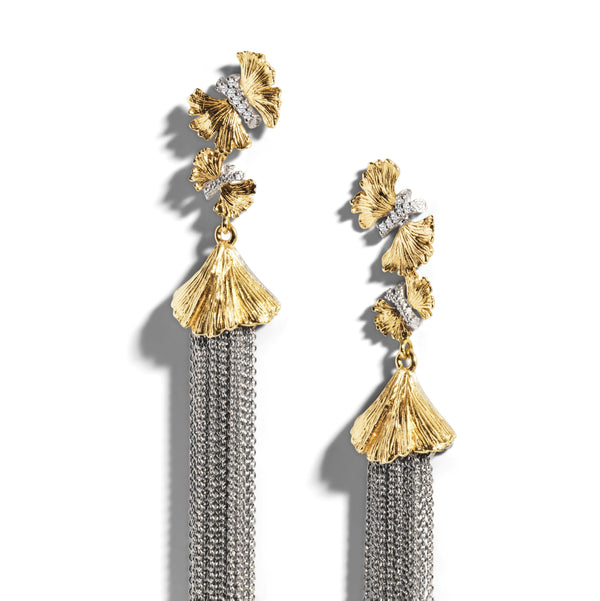 Michael Aram Butterfly Gingko Tassel Earrings with Diamonds