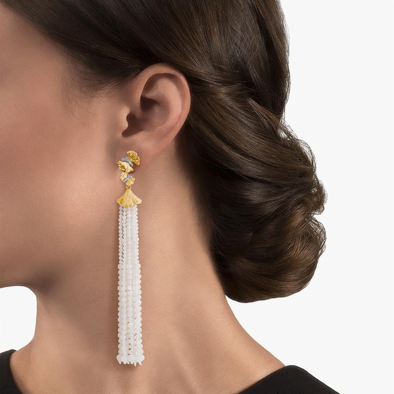 Michael Aram Butterfly Gingko Tassel Earrings with Moonstone and Diamonds