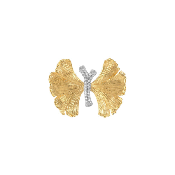 Michael Aram Butterfly Ginkgo Brooch with Diamonds