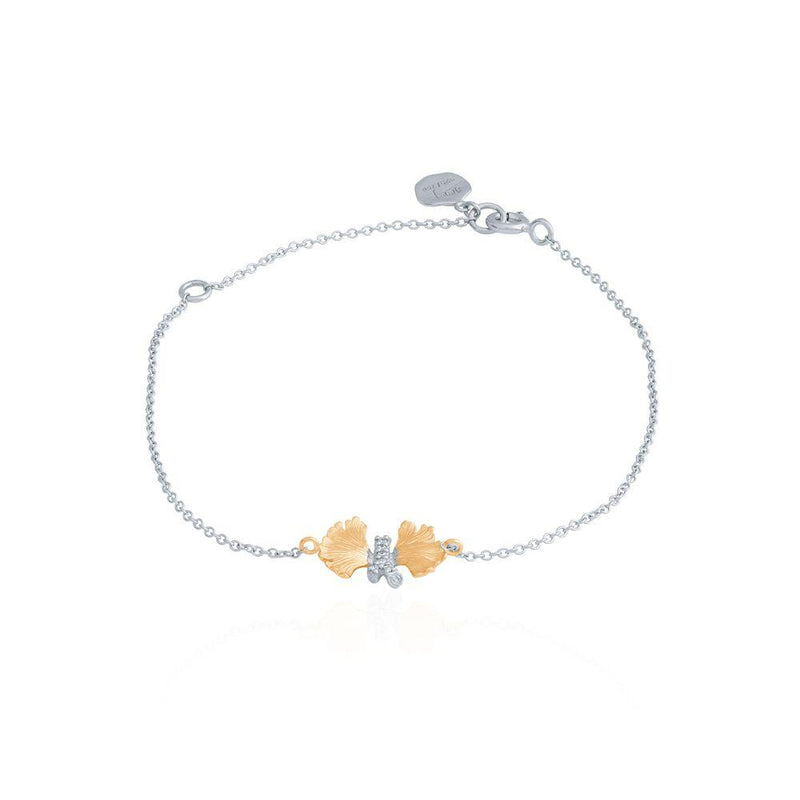 Michael Aram Butterfly Ginkgo Chain Bracelet w/ Diamonds in Sterling Silver & 18K Yellow Gold