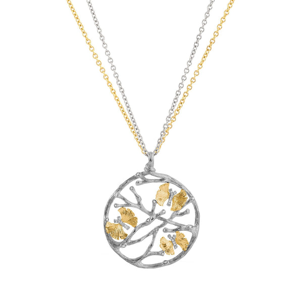 Michael Aram Butterfly Ginkgo Medallion Pendant Necklace with Diamonds