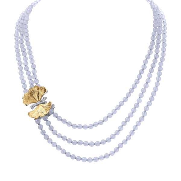 Michael Aram Butterfly Ginkgo Multi Strand Necklace with Chalcedony and Diamonds