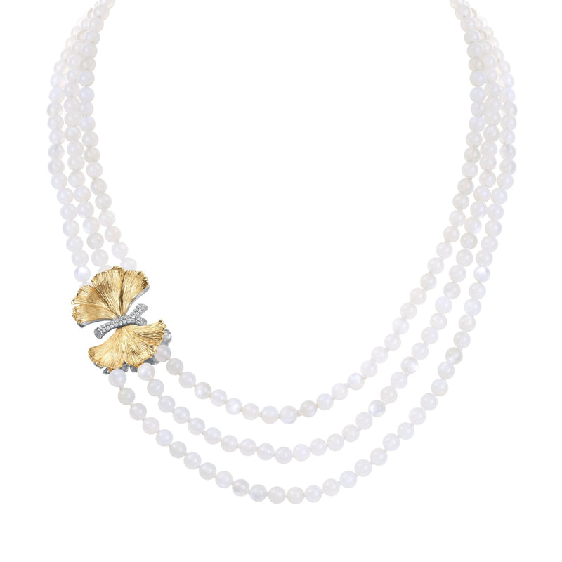 Michael Aram Butterfly Ginkgo Multi Strand Necklace with Moonstone and Diamonds