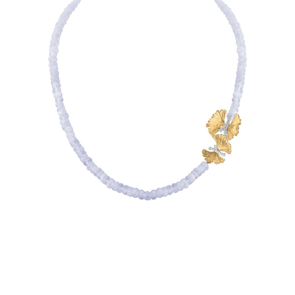 Michael Aram Butterfly Ginkgo Necklace with Chalcedony and Diamonds