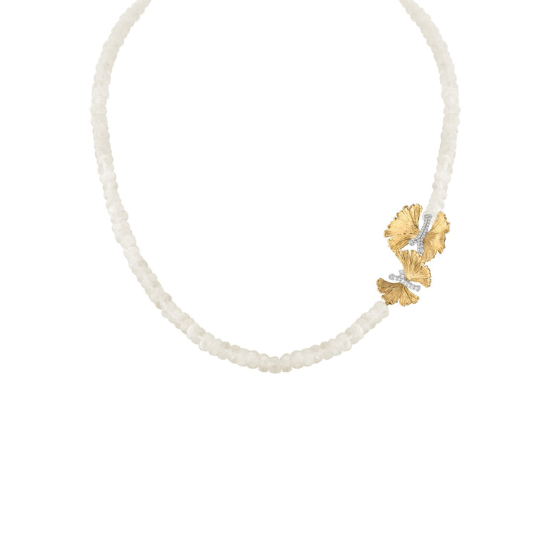 Michael Aram Butterfly Ginkgo Necklace with Moonstone and Diamonds