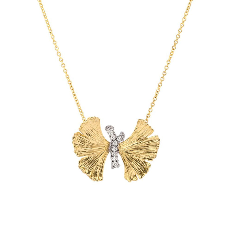 Michael Aram Butterfly Ginkgo Pendant Necklace with Diamonds