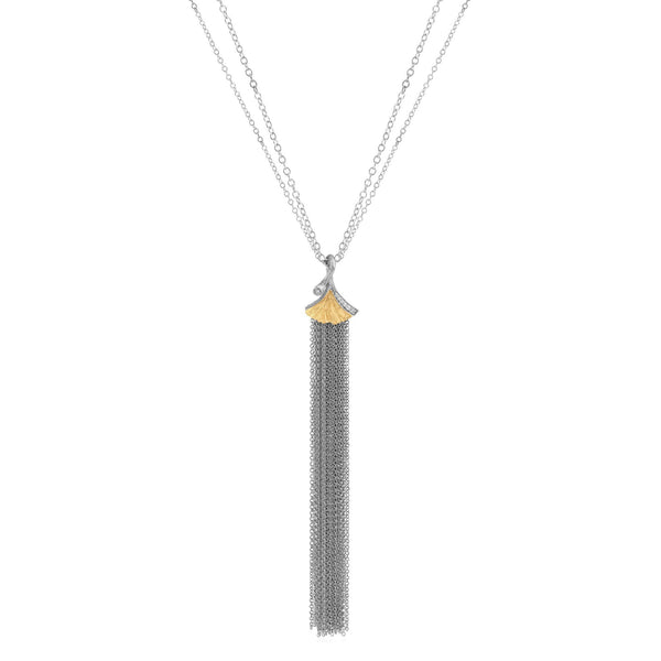 Michael Aram Butterfly Ginkgo Tassel Pendant Necklace with Diamonds