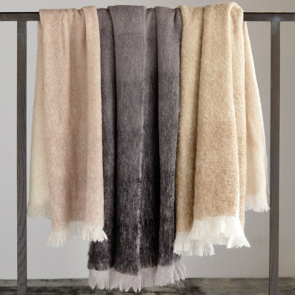 Michael Aram Dip Dye Mohair Throw - Charcoal
