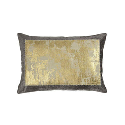 Michael Aram Distressed Metallic Lace Pillow - Pearl Gray / Gold