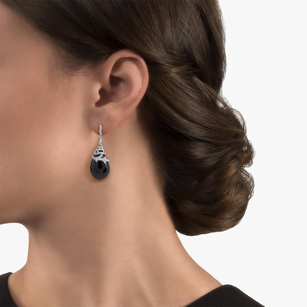 Michael Aram Enchanted Forest Earrings with Black Onyx and Diamonds