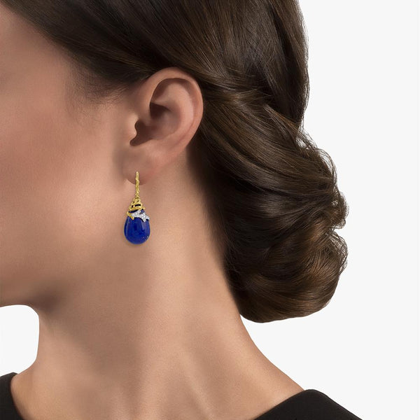 Michael Aram Enchanted Forest Earrings with Lapis and Diamonds